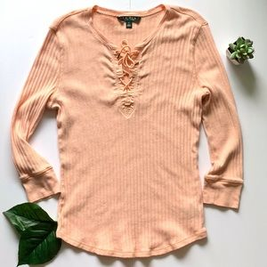 Ralph Lauren Long Sleeve Lightweight Lace Up Neck